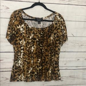 St. John Animal print short sleeve top